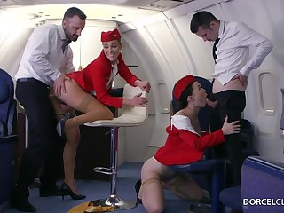Alexis Crystal and Misha Cross are VIP stewardesses who were hired encircling do everything encircling please dudes