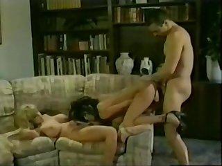Olivia gets down in a hot retro threeway