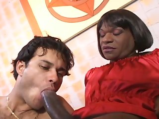 Ebony curvy swart transsexual whore gets her swart cock sucked liberally