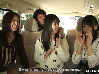 Asakura Kotomi and two more dark haired Jap gals allotment dick be advantageous to a meticulous blowjob