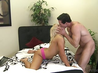Peter North fucks a hot young blonde relative to the brush shaved pussy