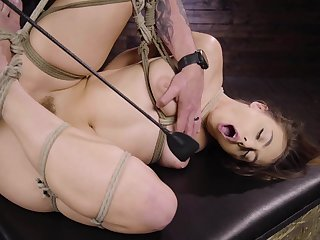 crestfallen Gia Derza destroys her shaved and wet pussy with big sex gewgaw