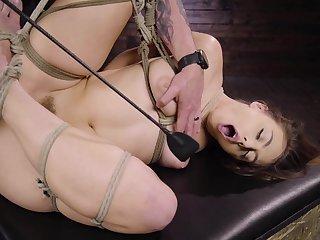crestfallen Gia Derza destroys her shaved and wet pussy with big sex gewgaw