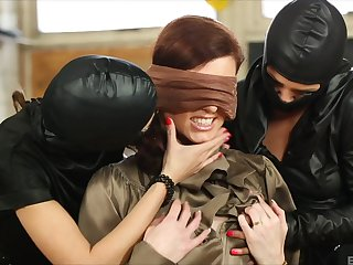 Lesbian Bella Baby abused by two masked babes with toys