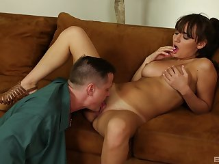 Tanned Charlotte Cross gets fucked by step daddy much the same as she deserves