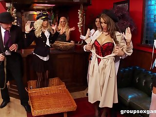 Costumed Amy Azzura added to Anna Lovato plat dirty sexual congress mafficking celebrations with friends