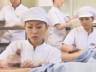 Japanese nurse slurping cum relish in blistering pecker