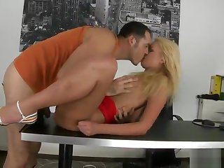 European babe is acting in blowjob porno movie