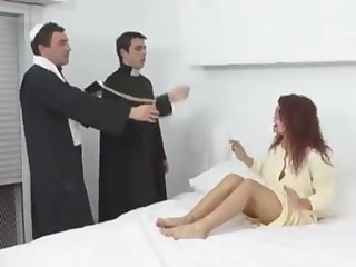 Succulent red-haired babe takes two cocks into ass and pussy
