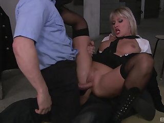 Milf gets laid beside duo unperceived men in crazy role play