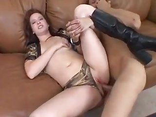 Girl with a big ass receives anal sex from beggar on couch
