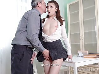 Precise sophomore student Alita Angel loses anal continence with old teacher