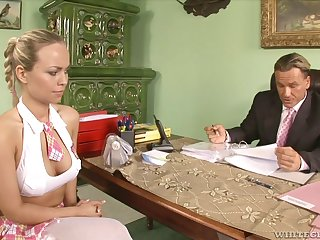 Perverted religious is watching sexy student Mia Leone sucking a obese dick
