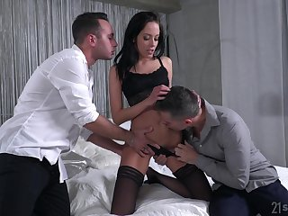 Comminuted drab Renata is fucked and jizzed by two hot blooded boyfriends