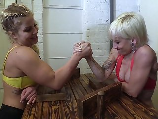 Domination Wrestling - depreciatory drag queen femdom with muscled babes