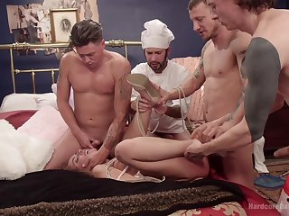 Brutal gangbang with facsimile penetration for slut Roxanne Rae