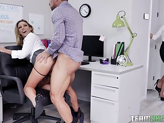 Female boss welcomes the needy secretary for a wild threesome