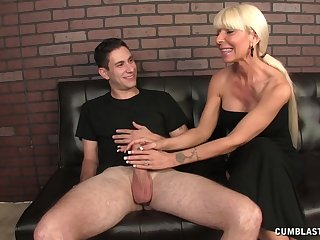 Chubby dick guy enjoys while mature fair-haired Kasey Storm jerks him off