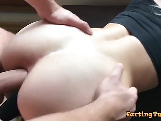 Teenage whore gets anal hole rim with perilous cum