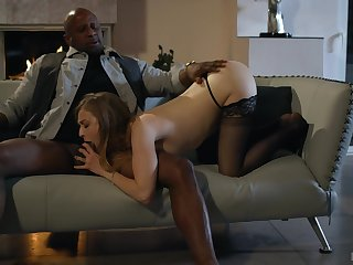 Evening near the fire place includes interracial doggy fuck for Karla Kush
