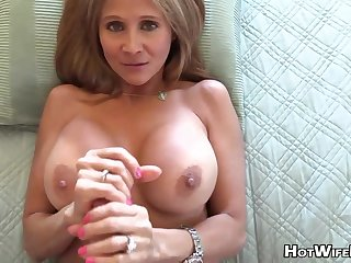 Mature auric housewife with phat milk globes is frolicking with her paramour's rock static manstick