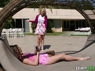 Bossy stepmom Lisey Beloved puts on strapon and fucks ill stepdaughter