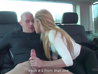Deprecatory bald headed dude enjoys shagging naughty blonde in the backseat