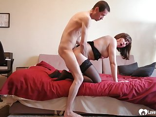 Stepmom in stockings gets had intercourse without mercy