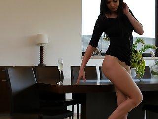 Astonishing svelte unlit with long legs Lady D masturbates her wet pussy