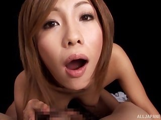 POV video of a redhead Japanese wife blowing her husband's tap