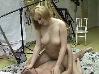 Czech teenage bimbo Eva rides dick handy the tinge
