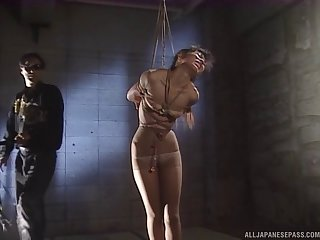 Rough fucking for tied up Japanese chick who is into bondage