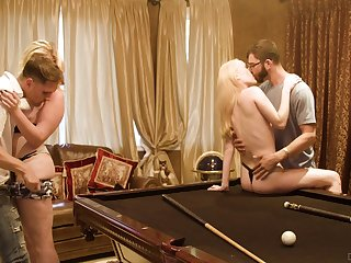 Billiards room fourway be proper of loving lassies Candy White and Krystal Kash