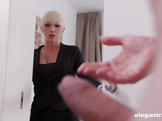 Christina catches her business partner jerking off together with decides in the air help him